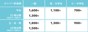 メンバー料金表(通常利用)